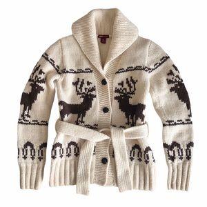 H&M Women's Cream Wool Belted Cardigan Jacket XXS